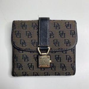 Dooney Bourke Black Silver Monogram Bifold Wallet